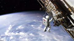 Astronaut working on ISS - 4K Stock Footage