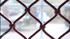 Old openwork lattice on the window Stock Footage