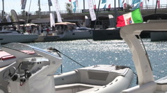 Prow of a boat ,Genoa Boat Show 2015 Stock Footage