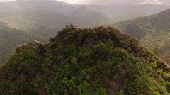 Smoky Mountains Aerial low around Chimney Tops summit - stock footage