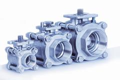 Group 3 valves, different sizes Stock Photos