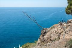 Stock Photo of Seascape from viewpoint on cliff in Tossa de Mar, Spain.