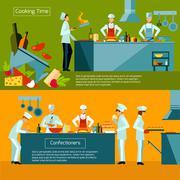 Cooking Banner Set - stock illustration