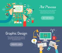 Stock Illustration of Creative Process Banners