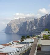 Gigantes cliffs view from uptown Los Gigantes, Tenerife Island. Stock Photos