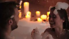 Enjoying Bubble Bath Together Stock Footage