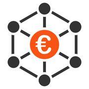 Euro Bank Network Icon - stock illustration
