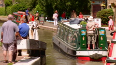 Narrowboat on River Stock Footage