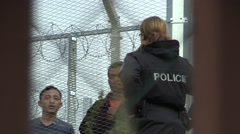 Refugees placement in a detention camp in Vysni Lhoty Stock Footage