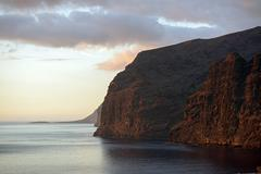 Gigantes cliffs view from Los Gigantes town, Tenerife, Canary. Stock Photos