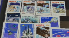 Hobby. Philately. Stamp-collecting. Conquest of space Stock Footage