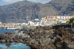 View from Barbero rocks towards Puerto de Santiago, Tenerife, Canary. - stock photo