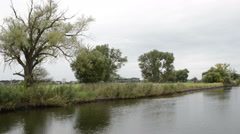 Havel River.  start of autumn time. on left side village Schollene Stock Footage