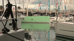Details of the bows of sailboats during the Genoa Boat Show 2015 Stock Footage