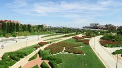 Garden in Madrid river 60 Stock Footage