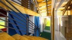 Modern staircase - interior - stock illustration
