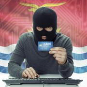 Stock Photo of Dark-skinned hacker with flag on background holding credit card - Kiribati