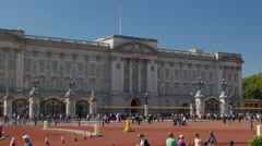 Pan shot from Buckingham Palace to the Victoria Memorial Stock Footage