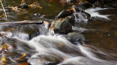 Stock Video Footage of Natural fresh water flowing over rocks autumn colors outdoors