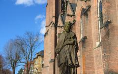 St. Nepomuk sculpture near St. Elizabeth church in Teplice, Czech. - stock photo