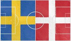 sweden vs denmark europe football championship 2016 - stock illustration