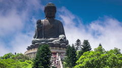 Beautiful view of the Giant Buddha in Hong Kong, China Stock Footage