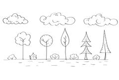 Forest Tree Woods Sketch Simple Line Child Hand Drawing - stock illustration