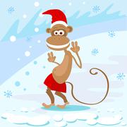 Monkey Happy Smile Wear Santa Hat Show Peace Two Fingers New Year Sign Asian - stock illustration