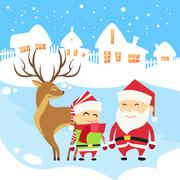 Santa Clause Christmas Elf Reindeer over Winter Snow House Village Silhouette - stock illustration