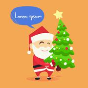 Santa Claus Carry on Christmas Tree New Year Holiday - stock illustration