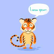 Cartoon Tiger Smile Show Two Finger Peace Gesture Emotion - stock illustration