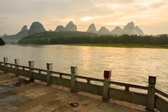 Li river landscape and empty street from yangshuo Stock Photos