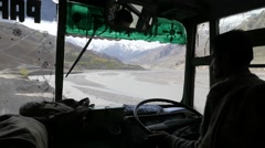 Driving with bus through rough himalaya roads,Spiti,India Stock Footage