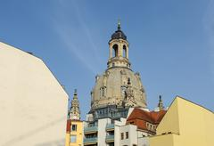 Frauenkirche dome above modern back facades of Quarter III, Dresden. Stock Photos
