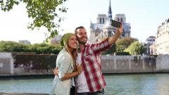 Young couple visiting Paris - stock footage