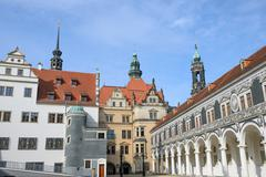 View of Stallhof toward Chancellery Building and George Gate, Dresden. - stock photo