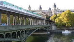 View of aerial Subway in Paris Stock Footage