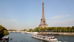 Paris, Tour boat on the Seine river Stock Footage