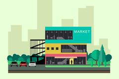 Shopping mall building. Stock Illustration