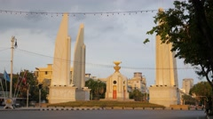 Democarcy monument with cyclists,Bangkok,Thailand Stock Footage