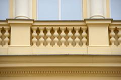 Facade detail of old building of Renaissance Revival style, Prague. - stock photo