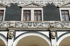 Front part above arcade of Stables Courtyard (Stallhof) in Dresden, Germany. Stock Photos