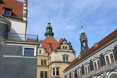 View from Stables Courtyard toward George Gate, Dresden, Saxony, Germany. - stock photo