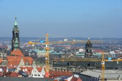 View from Kreuzkirche bell tower towards Dresden Cathedral, Saxony, Germany. - stock photo