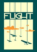 Stock Illustration of retro airplanes flight on striped backdrop