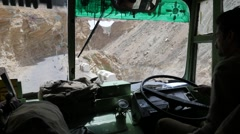 Driving with bus through rough himalaya roads,Spiti,India - stock footage