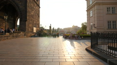 Tourists gathered in Knights of the Cross Square at sunset, Prague Stock Footage