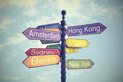 Signboard with directions to Countries Stock Photos