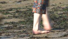 Close Up of Small Dog Following Someones Feet Across A Beach Stock Footage