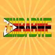 Zimbabwe flag text with sunburst illustration Stock Illustration